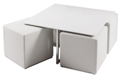 Cubic coffee table with four stools white Amazoncouk Kitchen Home