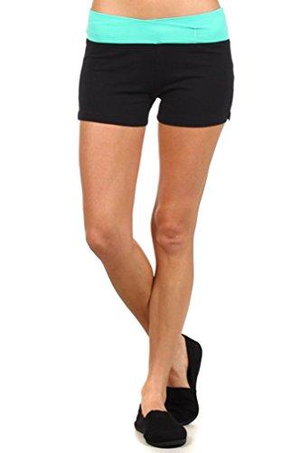 MOPAS Yoga Shorts with Fold Over Solid Waistband