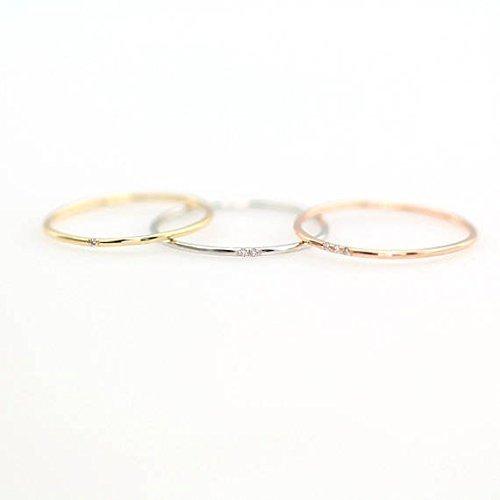 Minimalist Diamond Ring, 14k Solid Gold Diamond Band, 1mm Full Round Thin Ring with 1, 2 or 3 Stones .95 mm Diamond, Wedding Engagement Ring