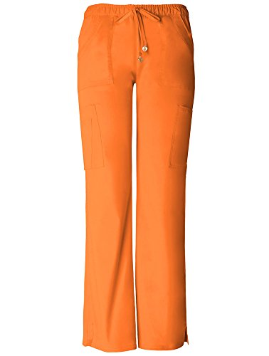 (Picture Perfect by heartsoul Women's Charmed Low Rise Cargo Scrub Pant XX-Large Orange Crush)