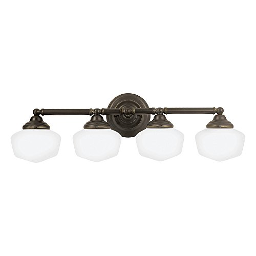 - Sea Gull Lighting 44439-782 Academy Four-Light Bath or Wall Light Fixture with Satin White Glass, Heirloom Bronze Finish
