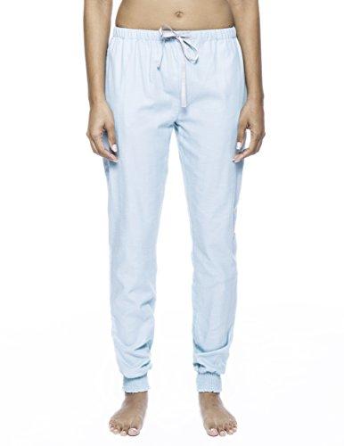 Noble Mount Pantalón Pijama Jogging de 100% Franela de Algodón para Mujer Espiga Aqua
