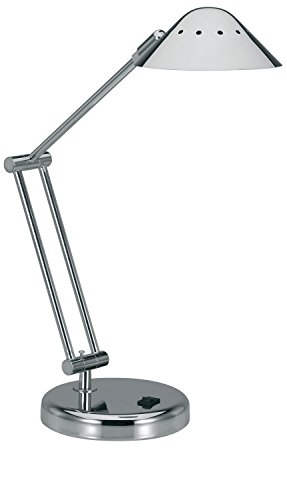 V-LIGHT Halogen Desk Lamp with 3-Point Adjustable Arm and Dimmer Switch, Brushed Nickel (VSD102BN) (Switch Chrome Dimmer)