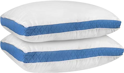 Utopia Bedding Gusseted Quilted Pillow Standard/Queen 18 x 26 Inches - Set of 2 Premium Quality Bed Pillows Side Back Sleepers Blue Gusset