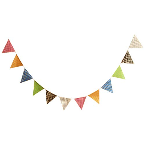 Chevron Design Burlap Banner - Vintage Triangle Bunting Banner with 12pcs Flags Party Decoration -
