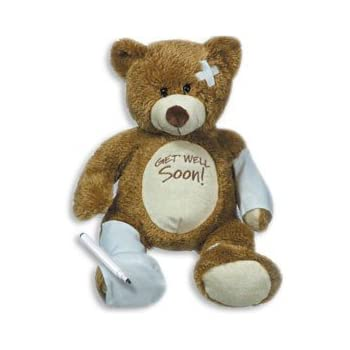 """15"""" Plush GET WELL SOON Teddy Bear w/Cast for Autograph - Speedy Recovery GIFT for Hospitalized CHILD Adult - KEEPSAKE"""