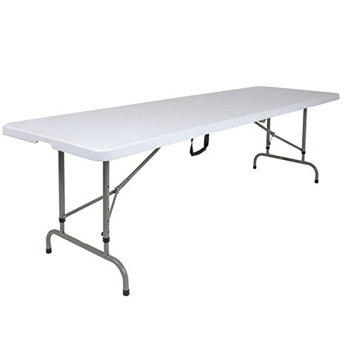 - Flash Furniture 30''W x 96''L Height Adjustable Bi-Fold Granite White Plastic Folding Table