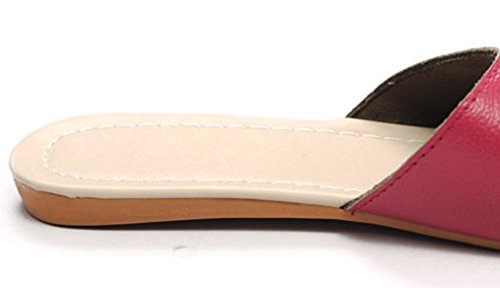 Cattior Dames Stevige Lederen Huis Outdoor Slippers Dames Slipper Rose Rood