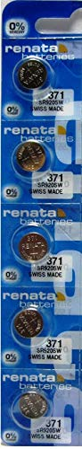 Renata 371 SR920SW AG6 D371 LR921 Silver Oxide Mercury Free Electronic Batteries x 5 (Watch Batteries D371)