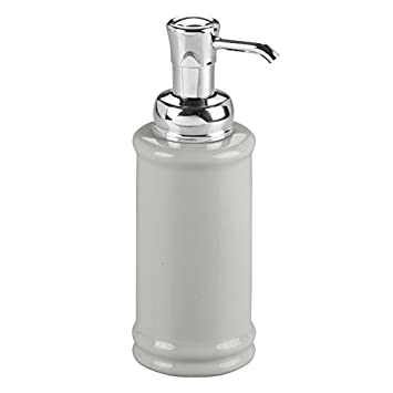 InterDesign Hamilton Ceramic Foaming Soap Dispenser Pump for Kitchen, Bathroom Vanities-Black/Chrome Inc. 71157