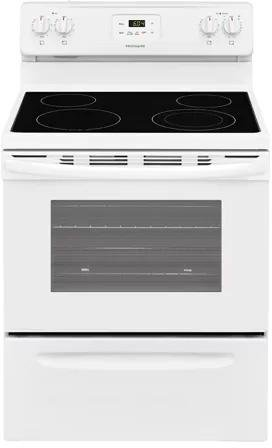 Frigidaire FFEF3051TW 30 Inch Electric Freestanding Range with 4 Elements, Smoothtop Cooktop, Storage Drawer, 4.9 cu. ft. Primary Oven Capacity, in White