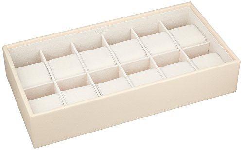 WOLF 309953 Stackable 12 Piece Watch Tray, Cream