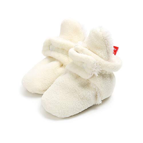 Sakuracan Baby Boys Girls Cozy Fleece Booties with Non Skid Bottom Infant Shoes Winter Socks (11cm(0-6 Months), B-White)