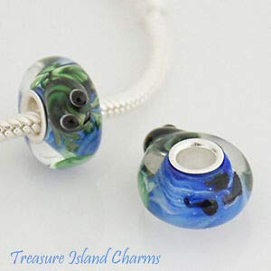 Harissa Frog in A Pond LAMPWORK Murano Glass 925 Sterling Silver European Bead Charm Crafting, Bracelet Necklace Jewelry Findings Jewelry Making Accessory