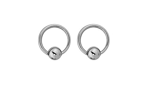 - Forbidden Body Jewelry Pair of Every-Day Piercing Rings: 14g 6mm Titanium Captive Bead Hoop Rings, 3mm Balls