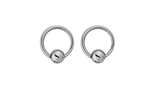 Ball Titanium 6mm Earrings (Forbidden Body Jewelry Pair of Every-Day Piercing Rings: 14g 6mm Titanium Captive Bead Hoop Rings, 3mm Balls)