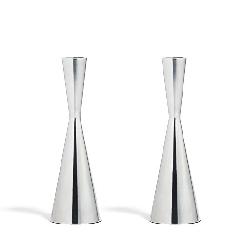 LampLust 2 Silver Finished Taper Candle Holders, 7.5 Inches, Metal, Hourglass Shape, Fits Standard Candlestick - Candlestick Glass