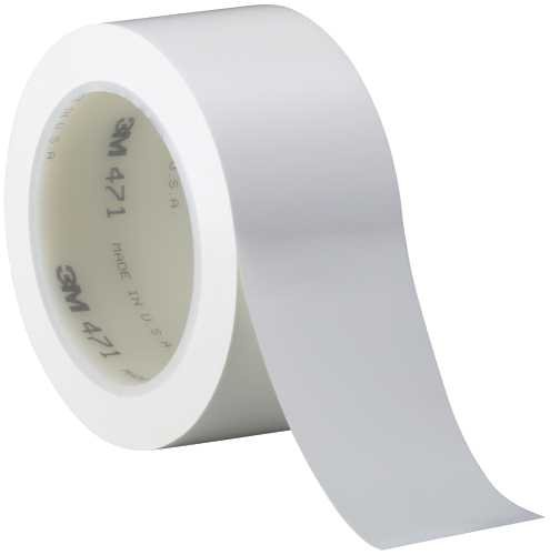 3M T967471W White #471 Solid Vinyl Tape, 2'' x 36 yd. (Pack of 24) by 3M