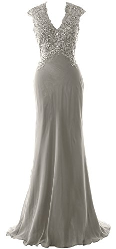 of Bride MACloth Gown Chiffon Lace Neck Silber the V Women Mother Formal Evening Dress PxPSzrq
