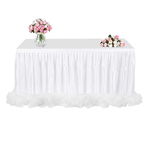 (Tulle Table Skirt, FAMIROSA Tutu Tablecloth Skirting for Rectangle or Round Tables for Party, Wedding, Banquet, Baby Shower Christmas, Home Decoration (L4(ft) H30in, White))
