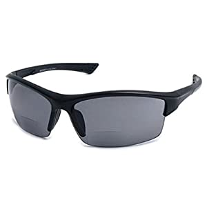 Cougar FS2 Sport Wrap Bifocal Safety Reading Glasses (Black +2.00) Carrying Case Included