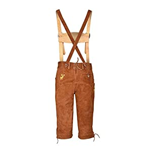 Mens Long Lederhosen Bavarian Real Cowhide Leather with Matching Suspenders