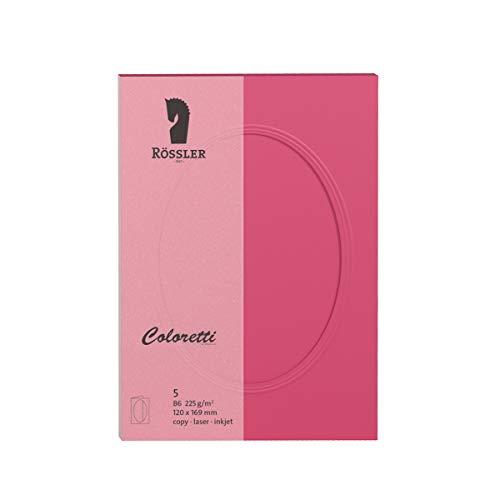 B6 R/össler 220732517 Coloretti Karten himmelblau 5 St/ück Passepartout oval