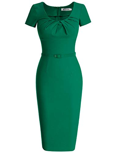 MUXXN Women's 1950s Vintage Short Sleeve Pleated Pencil Dress(L,Green) ()