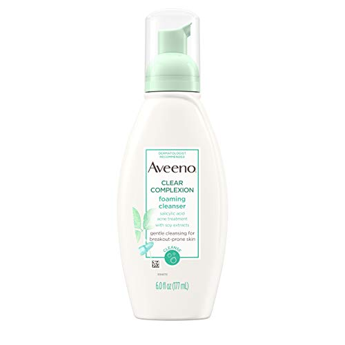 Aveeno Clear Complexion Foaming Oil-Free Facial Cleanser with Salicylic Acid for Breakout Prone Skin, Face Wash with Soy Extracts, Hypoallergenic and Non-Comedogenic, 6 fl. oz