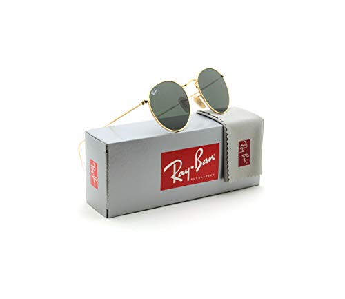 Ray-Ban RB3447N Round Metal Sunglasses Gold Green - 001, 50mm (Ray Ban Round Metal Green)