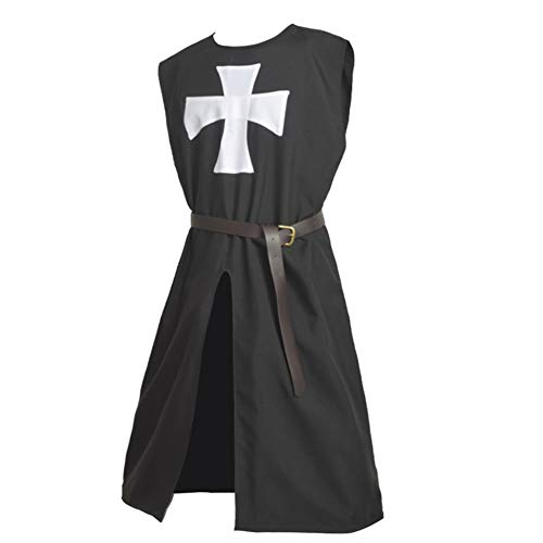 BLESSUME Hospitaller Knight Tunic Black Medieval Templar Knight Surcoat Tabard (Black Tunic with ()