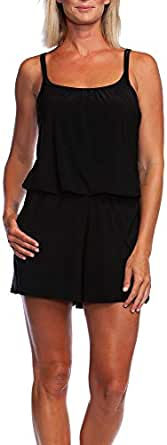 Maxine Of Hollywood Women's Romper One Piece Swimsuit at