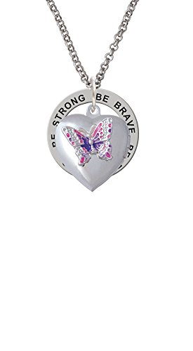 Pink & Purple Butterfly Locket - Be Strong Brave Fearless Affirmation Ring Necklace