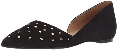 Naturalizer Women's Samantha Pointed Toe Flat, Black Leather Studded, 8.5 M US