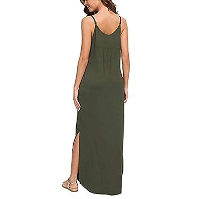 HUSKARY Women's Summer Casual Sleeveless V Neck Strappy Split Loose Dress Beach Cover Up Long Cami Maxi Dresses with Pocket: Clothing