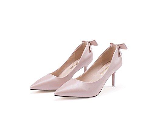 Weibliche elegante und bequeme Stiletto-Fersensandalen Sommer sexy flachen Mund Spitz-Zehen Schuhe ( Farbe : Weiß , größe : 39 ) Pink