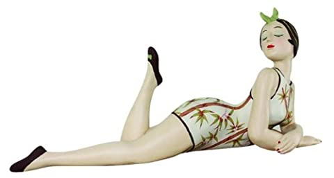 Retro Bathing Beauty Lying Figurine Statue | Swim Suit Woman Bamboo Branches - Neiman Marcus Suits
