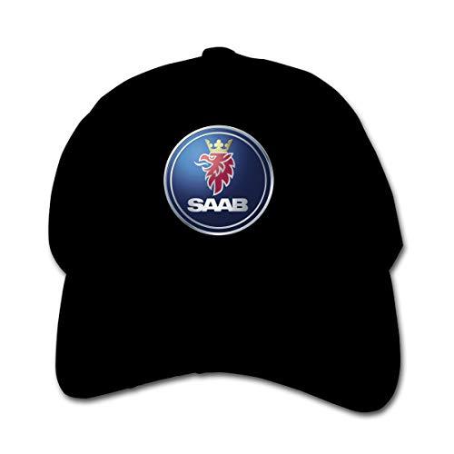 KAIFENG Customized General Motors Saab Logo Geek 100% Organic Cotton Peak Cap for Boys Black