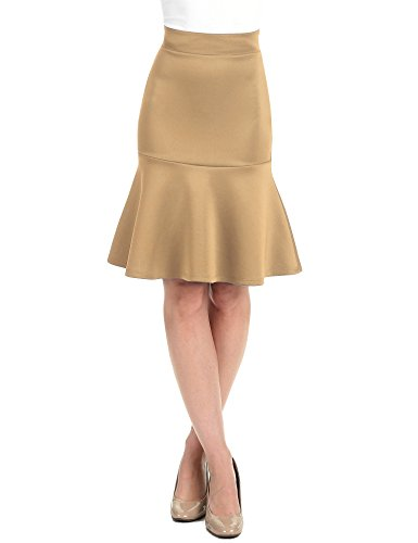 Khaki Pencil Skirt - WT1471 Womens High Waist Bodycon Fishtail Midi Skirt S Khaki
