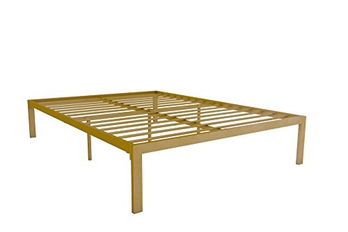 Signature Sleep Modern Metal Platform Bed Frame Under Bed Storage, Gold, Queen - Brass King Size Bed