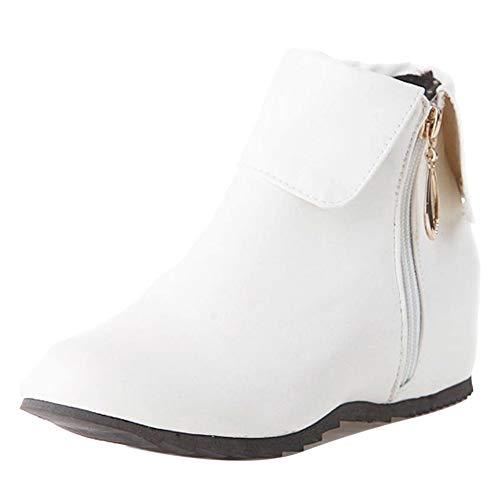 CularAcci Women Hidden Heel Ankle Boots White