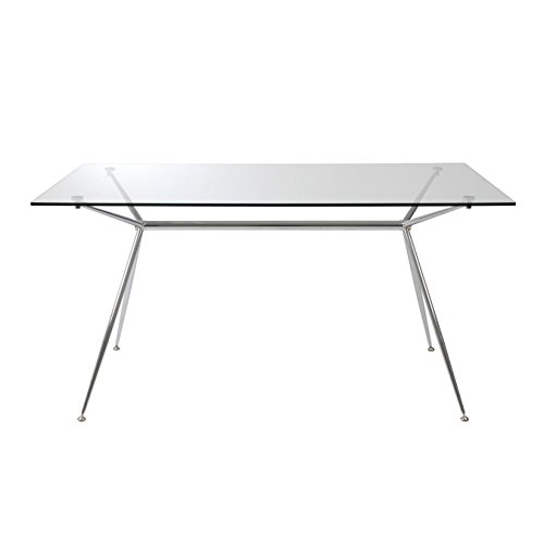 Eurø Style Atos Modern Sawhorse Glass Top Dining Table with Chromed Steel Base, 60