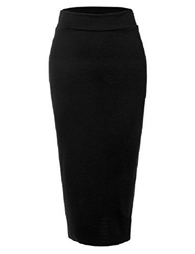 Tootless-Women High Waisted Slim Casual Muslim Long Maxi Bodycon Skirt Black M by Tootless-Women