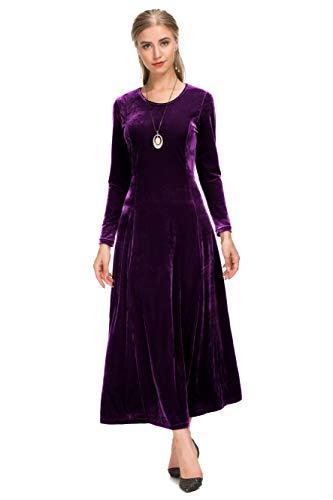 Dress Velvet Purple - Le Vonfort Formal Velvet Maxi Dress for Women, Gorgeous Long Sleeve Round Neck Swing Dresses Purple Small