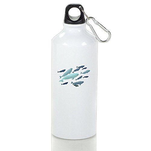 White Beluga Single (Xihuan Beluga Whale Aluminum Outdoor Sports Bottle Perfect For Yoga Canteen White 600ml)