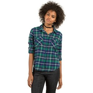 Volcom Women's New Flame Long Sleeve Flannel Vintage Inspired Shirt
