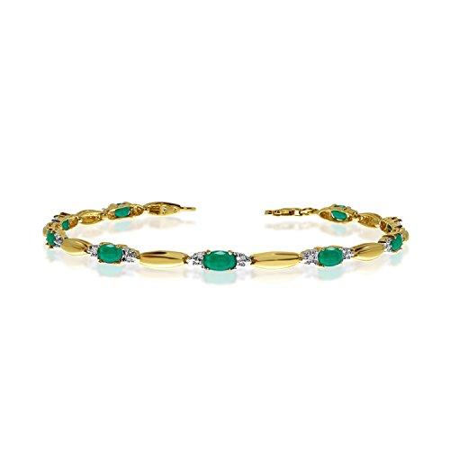 2.70 Carat (ctw) 14k Yellow Gold Oval Green Emerald and Diamond Tennis Bracelet - 7