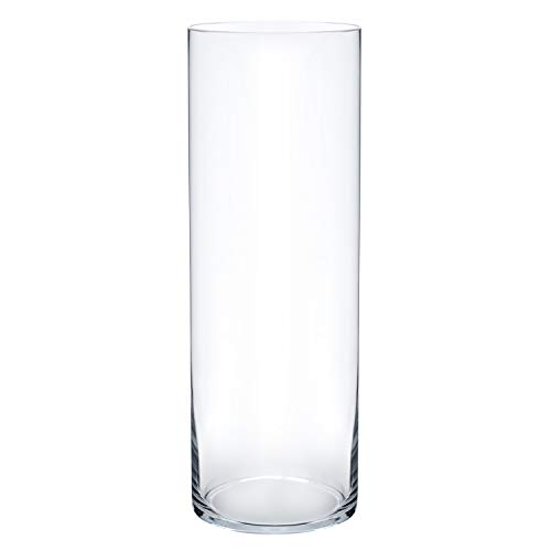 Royal Imports Flower Glass Vase Decorative Centerpiece for Home or Wedding Cylinder Shape, 14'' Tall, 4'' Opening, Clear by Royal Imports