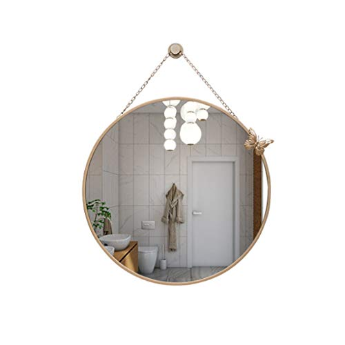 Anchor1 Nordic Wall Wrought Iron Round Mirror with Butterfly Hanging Wall Mirror - Double Bathroom Vanity Mirrors Framing For