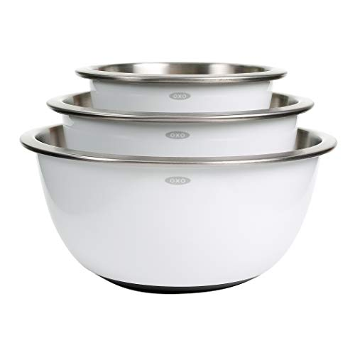 - OXO Good Grips 3-Piece Stainless-Steel Mixing Bowl Set, White